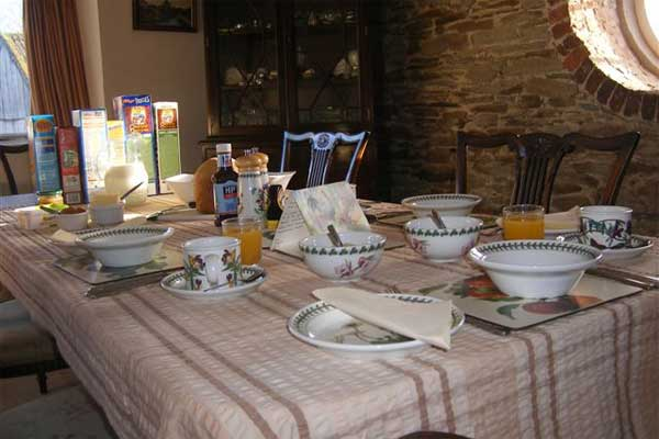 the breakfast table at our b&b